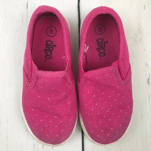 Girls Hot Pink Polka Dot Loafers Size 8